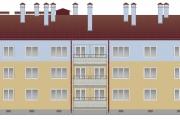 Западный фасад жилого дома в селе Алеховщина