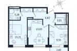 ЖК Дом с Фонтаном. Планировка двухкомнатной квартиры 1 тип
