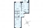 ЖК Дом с Фонтаном. Планировка двухкомнатной квартиры 3 тип