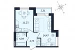 ЖК Дом с Фонтаном. Планировка однокомнатной квартиры 4 тип
