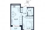 ЖК Дом с Фонтаном. Планировка однокомнатной квартиры 5 тип