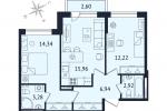 ЖК Дом с Фонтаном. Планировка двухкомнатной квартиры 2 тип