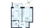ЖК Дом с Фонтаном. Планировка однокомнатной квартиры 1 тип