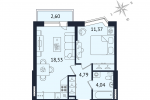 ЖК Дом с Фонтаном. Планировка однокомнатной квартиры 10 тип