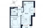 ЖК Дом с Фонтаном. Планировка однокомнатной квартиры 11 тип