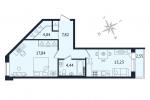 ЖК Дом с Фонтаном. Планировка однокомнатной квартиры 12 тип