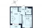 ЖК Дом с Фонтаном. Планировка однокомнатной квартиры 2 тип