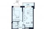 ЖК Дом с Фонтаном. Планировка однокомнатной квартиры 3 тип