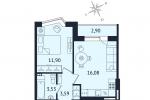 ЖК Дом с Фонтаном. Планировка однокомнатной квартиры 6 тип