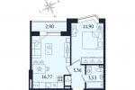 ЖК Дом с Фонтаном. Планировка однокомнатной квартиры 7 тип