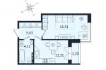 ЖК Дом с Фонтаном. Планировка однокомнатной квартиры 8 тип