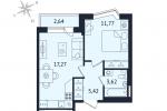 ЖК Дом с Фонтаном. Планировка однокомнатной квартиры 9 тип