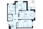 ЖК Дом с Фонтаном. Планировка трехкомнатной квартиры 1 тип