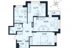 ЖК Дом с Фонтаном. Планировка трехкомнатной квартиры 2 тип