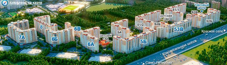 Общий вид жилого комплекса Дудергофская линия 3